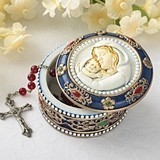 FashionCraft Madonna and Child Rosary Box Trinket Box