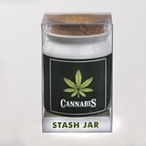 "Small Ceramic ""Cannabis"" Stash Jar with Cork Top"