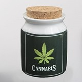 "Large Ceramic ""Cannabis"" Stash Jar with Cork Top"