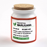 Large Ceramic 'Prescription: Marijuana' Label Stash Jar with Cork Top