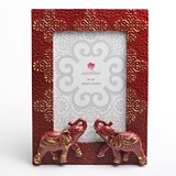 FashionCraft Burnt Sienna 4x6 Frame with Gold Accents and 3D Elephants