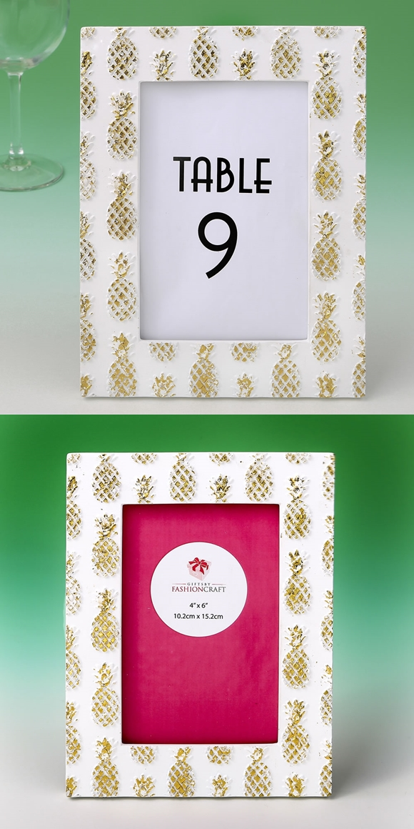 FashionCraft 4x6 White and Gold Frame with Gold Foil Pineapples Motif