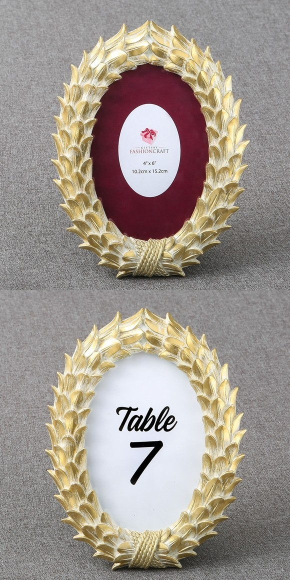 FashionCraft Gold-Leaf Feather Design 4x6 Frame/Table Number Holder