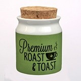 Small Premium 'Roast & Toast' Green and White Ceramic Stash Jar