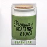 Large Premium 'Roast & Toast' Green and White Ceramic Stash Jar