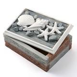 FashionCraft Woodgrain-Look Shell-Covered Trinket Box