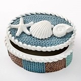 FashionCraft Knit-Style Beach-Themed Shell-Covered Box