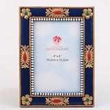 FashionCraft Magnificent Blue & Gold Ornate Frame with Floral Accents