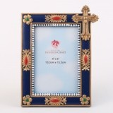 FashionCraft Magnificent Blue & Gold Ornate 4x6 Frame with Gold Cross