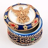 FashionCraft Angel-Covered Ornate Trinket Box with Gold Accents