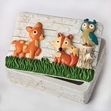 FashionCraft Woodland Animals Themed Covered Trinket Box