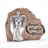 Angel Figurine on the 'Grateful-Thankful-Blessed' Rock by FashionCraft