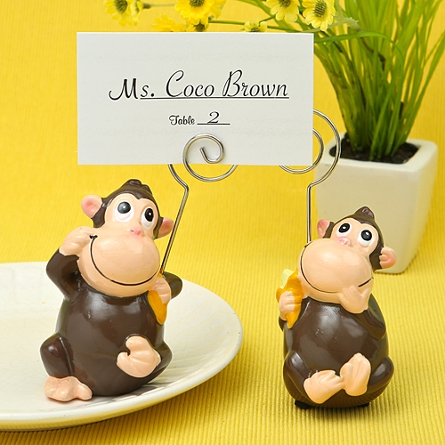 FashionCraft Hand-Painted Ceramic Monkey Place Card/Photo Holders (2)