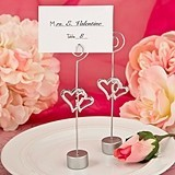 FashionCraft Love-Themed Double Heart Design Placecard Holder