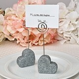 FashionCraft Heart-Themed Silver Glitter Place Card Holder