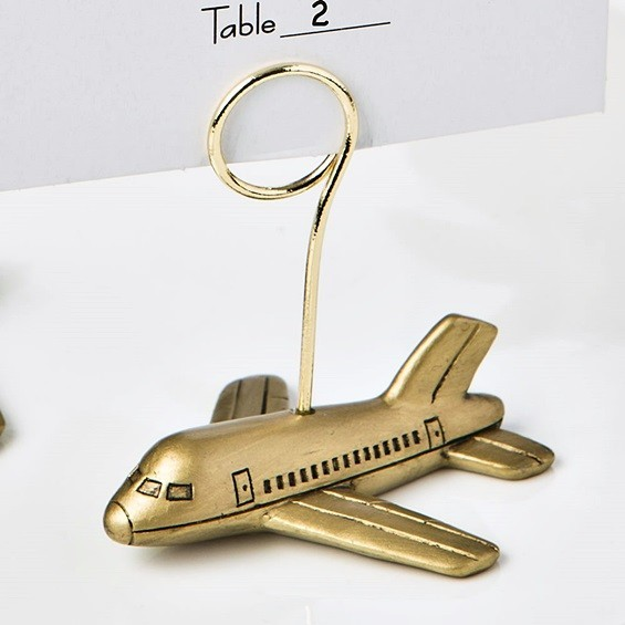 FashionCraft Antiqued-Gold Airplane Design Photo/Place Card Holders