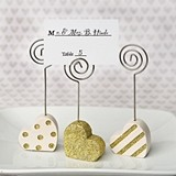 Heart-Shaped Placecard Holders (Set of 3 Assorted in Gold and White)