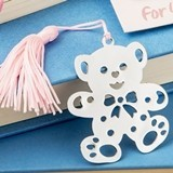 FashionCraft Adorable Teddy Bear Design Bookmark with Pink Tassel