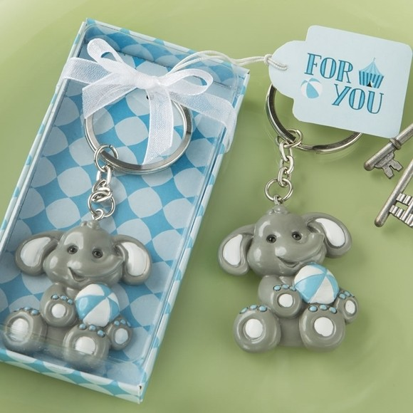 FashionCraft Cute Baby Elephant with Blue Design Tea Key Chain