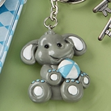 FashionCraft Cute Baby Elephant with Blue Design Tea Key Chain