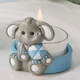 FashionCraft Cute Baby Elephant with Blue Design Tea Light Holder