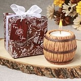 FashionCraft Wine Barrel-Themed Tea Light Candle Holder