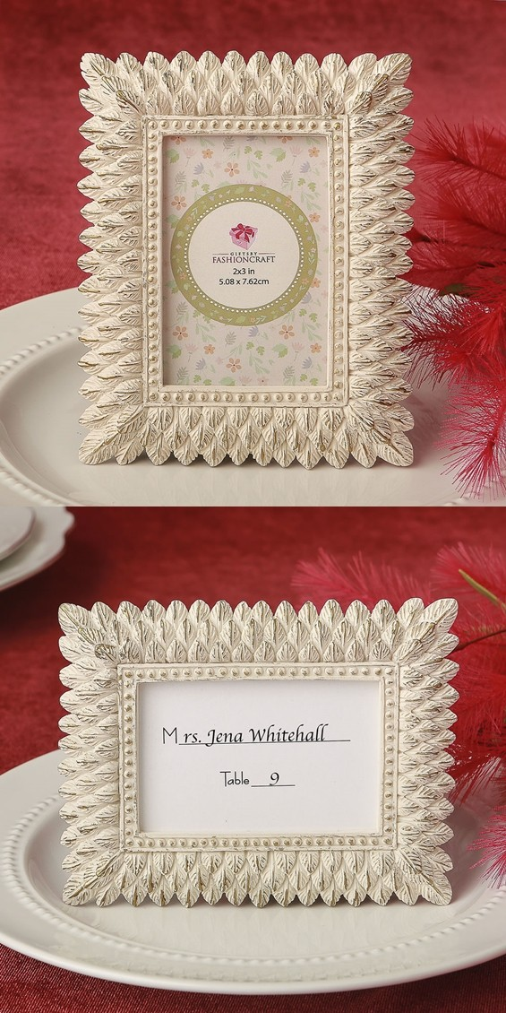 Ivory and Brushed Gold-Leaf Triple-Layer-Border Frame/Placecard Holder