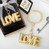 FashionCraft Gold-Metal Keychain with Gold Mylar LOVE Balloon Design
