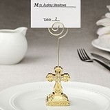 FashionCraft Gold-Colored Cross Photo/Placecard Holder w/ Rhinestones