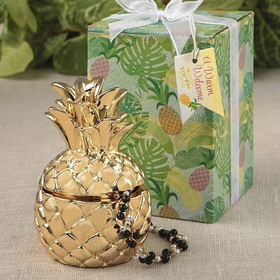 Standard Wedding Gift Amount: Warm Welcome Collection Gold Metallic Finish Pineapple
