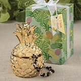 Warm Welcome Collection Gold Metallic Finish Pineapple Trinket Box
