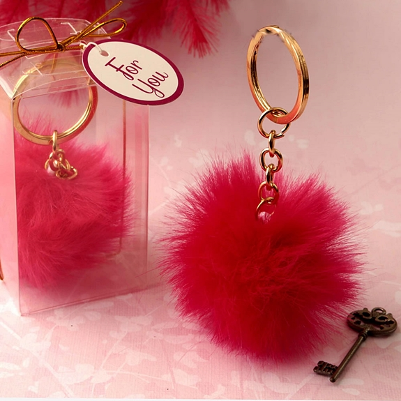 FashionCraft Fluffy Hot Pink Pom Pom with Gold Key Chain