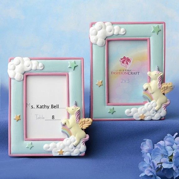FashionCraft Unicorn and Puffy Clouds Design 2x3 Placecard/Photo Frame