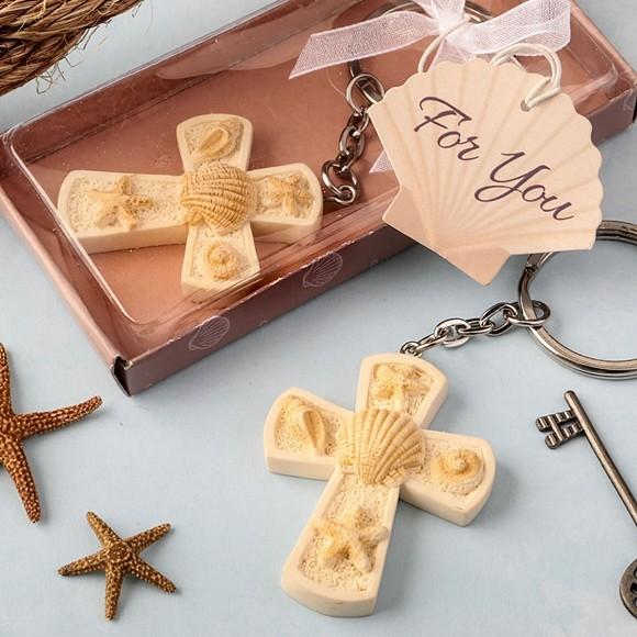 FashionCraft Beach-Themed Cross Charm Key Chain
