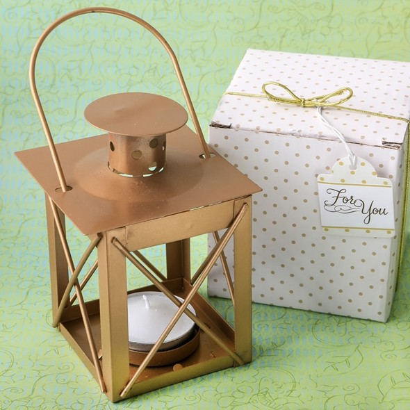 FashionCraft 'Love Lights the Way' Matte-Gold-Finish Metal Lantern