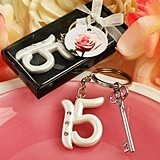 FashionCraft Rhinestone-Accented Sweet 15 Quinceneara Key Chain