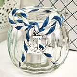 FashionCraft Nautical-Themed Glass Globe Candle-Holder w/ Anchor Charm