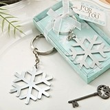 FashionCraft Winter Snowflake-Shaped Silver-Colored Metal Keychain