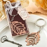 FashionCraft Fall Leaf-Shaped Copper-Colored Metal Keychain