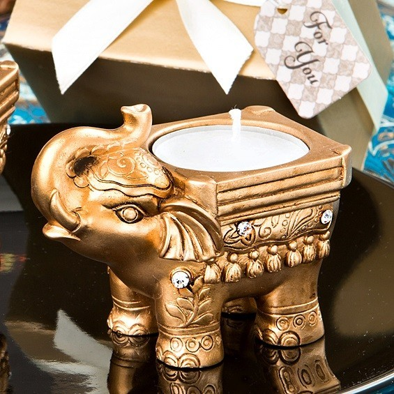 FashionCraft Gold-Colored Good Luck Indian Elephant Candle Holder