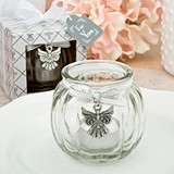 FashionCraft Angel-Themed Glass Globe Candle-Holder with Angel Charm