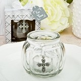 FashionCraft Cross-Themed Glass Globe Candle-Holder with Cross Charm