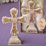 FashionCraft Antique Ivory Cross Statue w/ Matte-Gold Filigree Detail