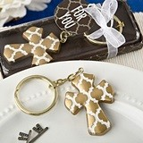 FashionCraft Gold Cross Hampton Links Design Keychain
