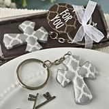 FashionCraft Silver Cross Hampton Links Design Keychain