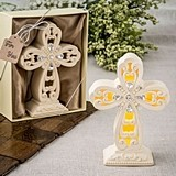 FashionCraft Ivory-Colored Standing Cross Statue w/ Glowing LED Light