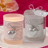 FashionCraft Silver Heart Charm and Stripes Motif Frosted-Glass Votive