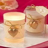 FashionCraft Gold Heart Charm and Stripes Motif Frosted-Glass Votive