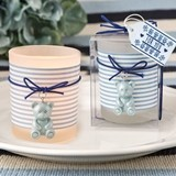 FashionCraft Blue Teddy Bear Themed Frosted-Glass Votive Holder