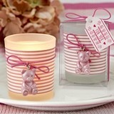 FashionCraft Pink Teddy Bear Themed Frosted-Glass Votive Holder